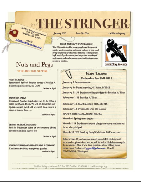 Jan Newsletter Page 1